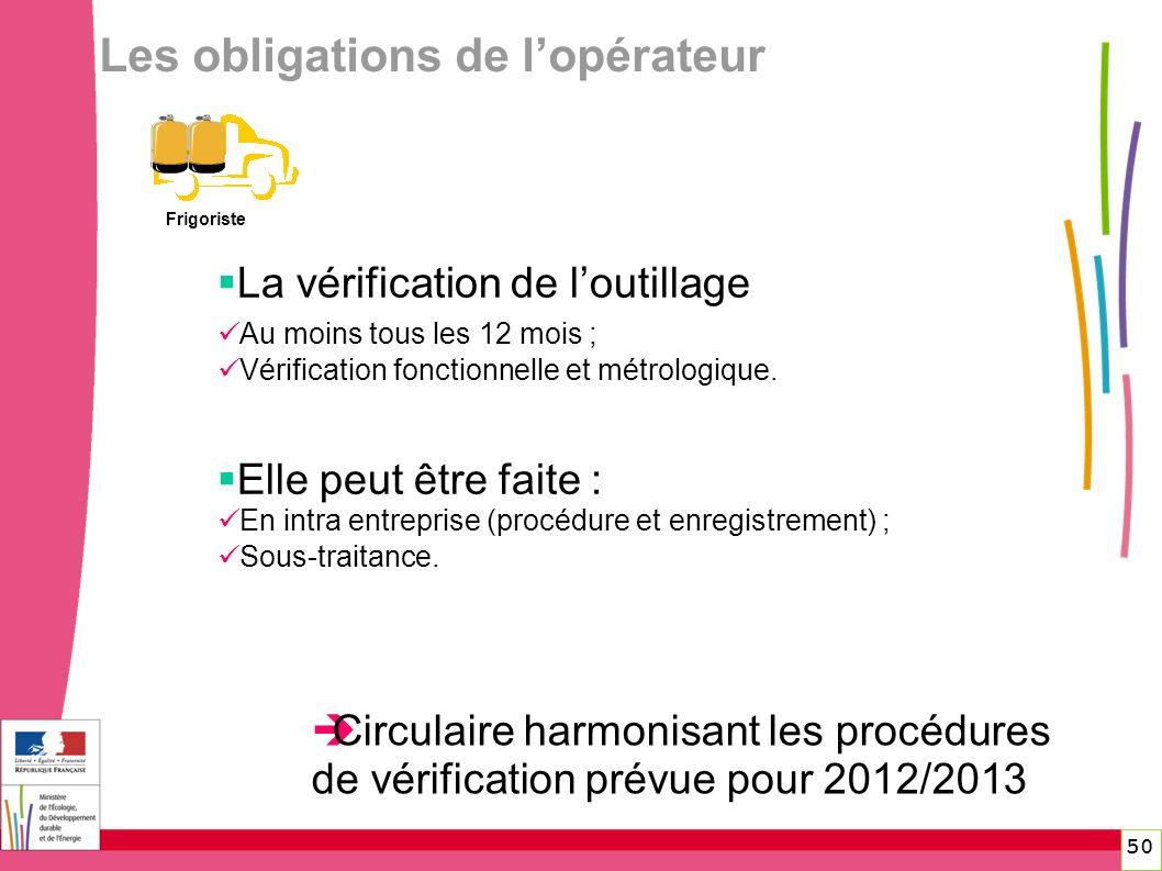 50 Les obligations de lopérateur Frigoriste La vérification de loutillage Au moins tous les 12 mois ; Vérification fonctionnelle et métrologique. Elle