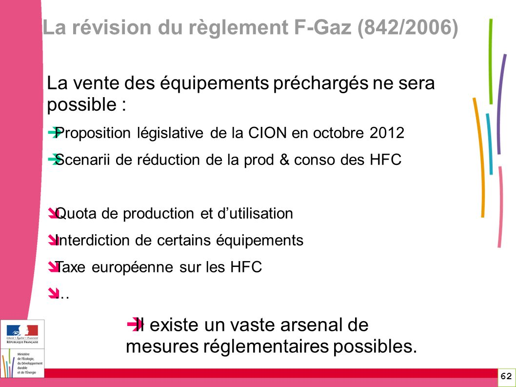 La révision du règlement F-Gaz (842/2006) 62 La vente des équipements préchargés ne sera possible : Proposition législative de la CION en octobre 2012