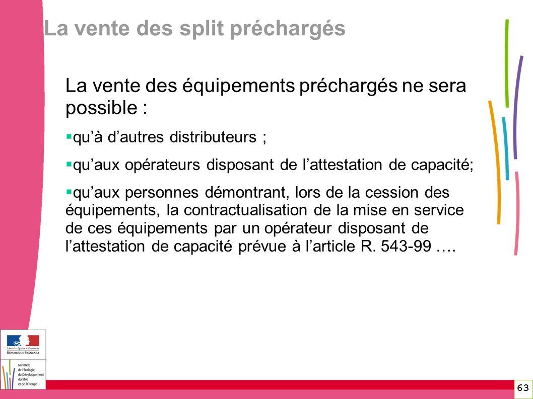 La vente des split préchargés 63 La vente des équipements préchargés ne sera possible : quà dautres distributeurs ; quaux opérateurs disposant de latt