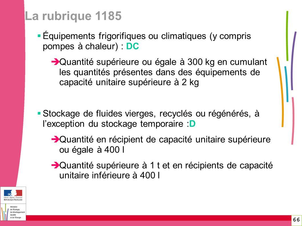 La rubrique 1185 66 Équipements frigorifiques ou climatiques (y compris pompes à chaleur) : DC Quantité supérieure ou égale à 300 kg en cumulant les q