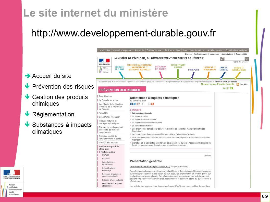 69 69 Le site internet du ministère Accueil du site Prévention des risques Gestion des produits chimiques Réglementation Substances à impacts climatiq