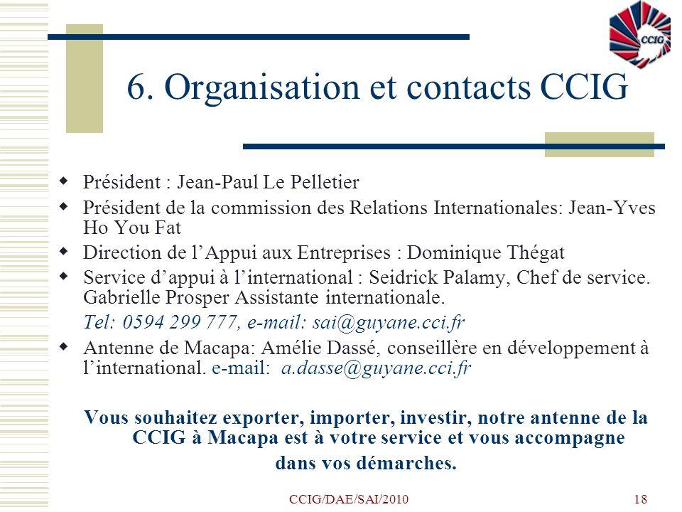 CCIG/DAE/SAI/201018 6. Organisation et contacts CCIG Président : Jean-Paul Le Pelletier Président de la commission des Relations Internationales: Jean