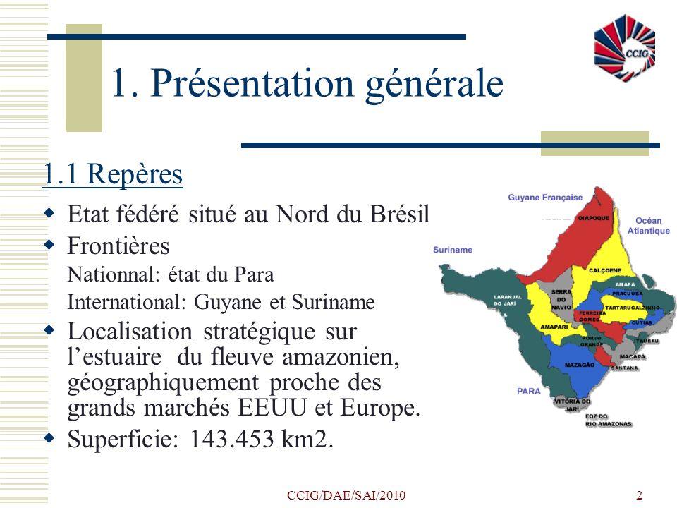 CCIG/DAE/SAI/20102 1. Présentation générale 1.1 Repères Etat fédéré situé au Nord du Brésil Frontières Nationnal: état du Para International: Guyane e