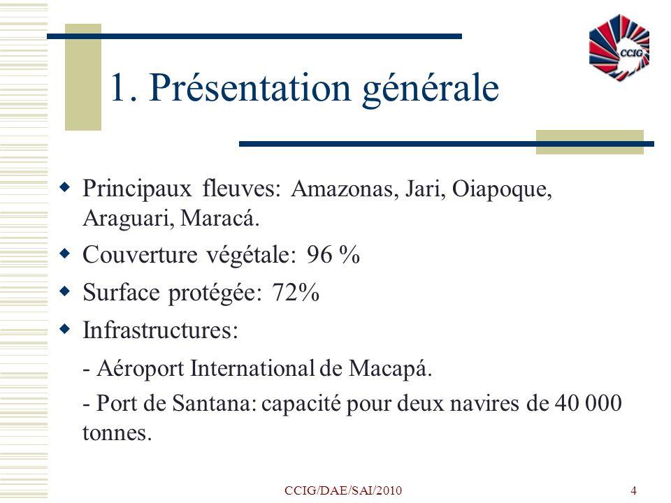 CCIG/DAE/SAI/20104 1. Présentation générale Principaux fleuves: Amazonas, Jari, Oiapoque, Araguari, Maracá. Couverture végétale: 96 % Surface protégée