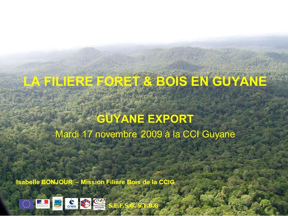 LA FILIERE FORET & BOIS EN GUYANE GUYANE EXPORT Mardi 17 novembre 2009 à la CCI Guyane Isabelle BONJOUR – Mission Filière Bois de la CCIG S.E.F.S.G.S.