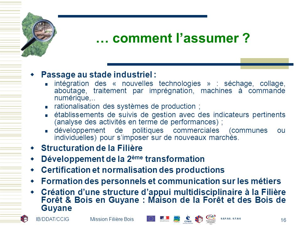IB/DDAT/CCIG Mission Filière Bois 16 … comment lassumer ? Passage au stade industriel : intégration des « nouvelles technologies » : séchage, collage,