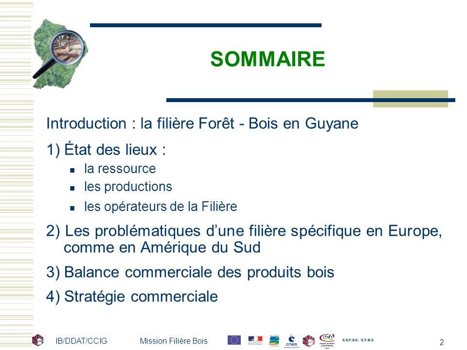 IB/DDAT/CCIG Mission Filière Bois 2 SOMMAIRE Introduction : la filière Forêt - Bois en Guyane 1) État des lieux : la ressource les productions les opé