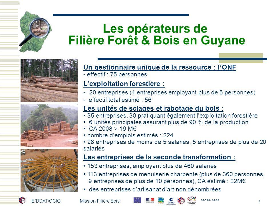 IB/DDAT/CCIG Mission Filière Bois 7 Les opérateurs de Filière Forêt & Bois en Guyane Un gestionnaire unique de la ressource : lONF - effectif : 75 per