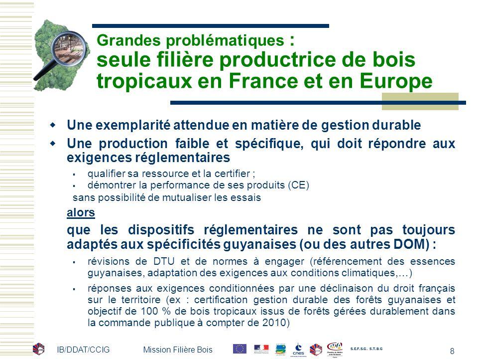 IB/DDAT/CCIG Mission Filière Bois 8 Grandes problématiques : seule filière productrice de bois tropicaux en France et en Europe Une exemplarité attend