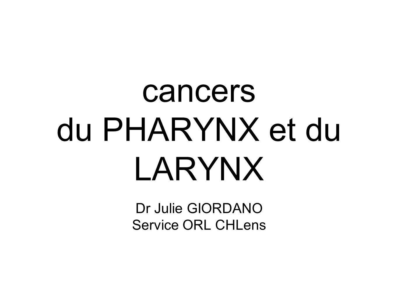 cancers du PHARYNX et du LARYNX Dr Julie GIORDANO Service ORL CHLens