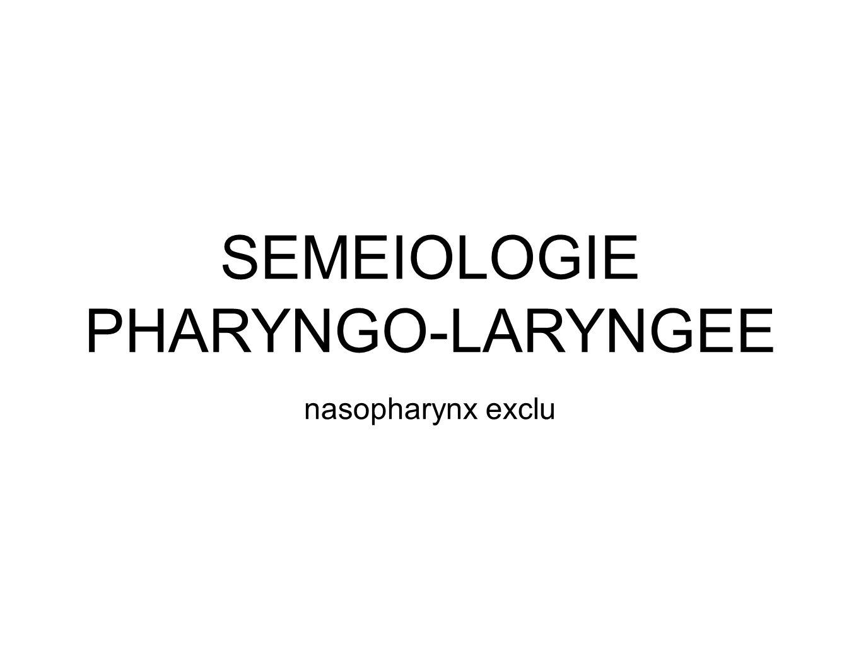 SEMEIOLOGIE PHARYNGO-LARYNGEE nasopharynx exclu