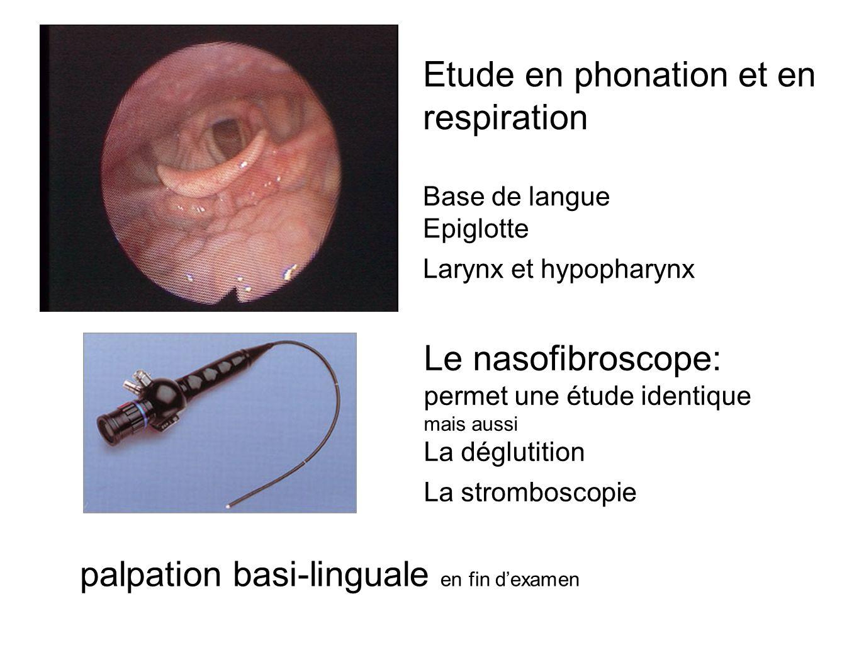 Etude en phonation et en respiration Base de langue Epiglotte Larynx et hypopharynx Le nasofibroscope: permet une étude identique mais aussi La déglutition La stromboscopie palpation basi-linguale en fin dexamen