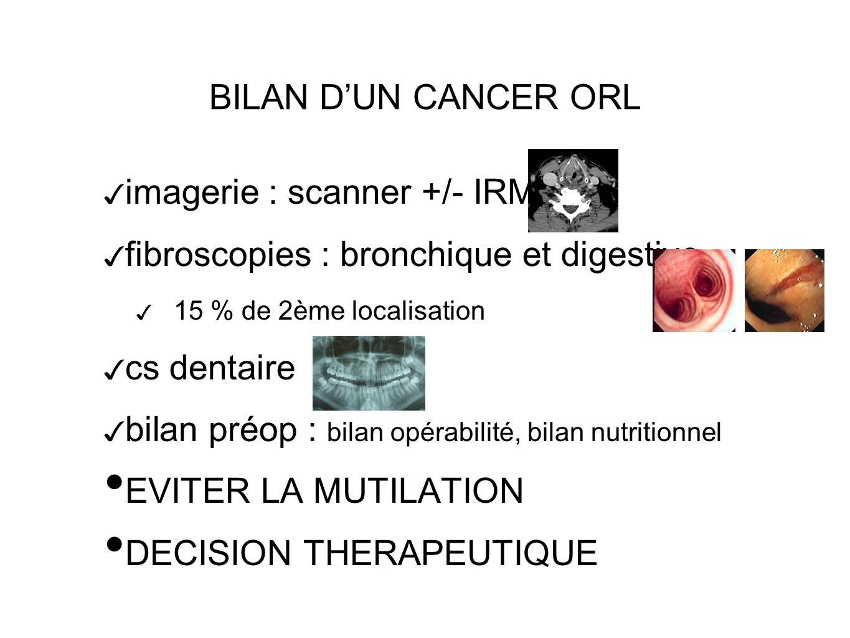 BILAN DUN CANCER ORL imagerie : scanner +/- IRM fibroscopies : bronchique et digestive 15 % de 2ème localisation cs dentaire bilan préop : bilan opérabilité, bilan nutritionnel EVITER LA MUTILATION DECISION THERAPEUTIQUE