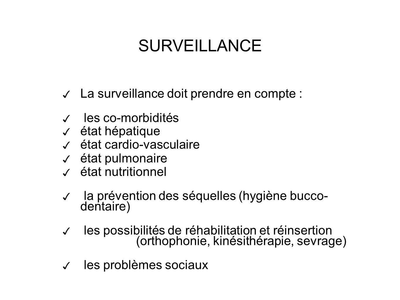 La surveillance doit prendre en compte : les co-morbidités état hépatique état cardio-vasculaire état pulmonaire état nutritionnel la prévention des séquelles (hygiène bucco- dentaire) les possibilités de réhabilitation et réinsertion (orthophonie, kinésithérapie, sevrage) les problèmes sociaux SURVEILLANCE