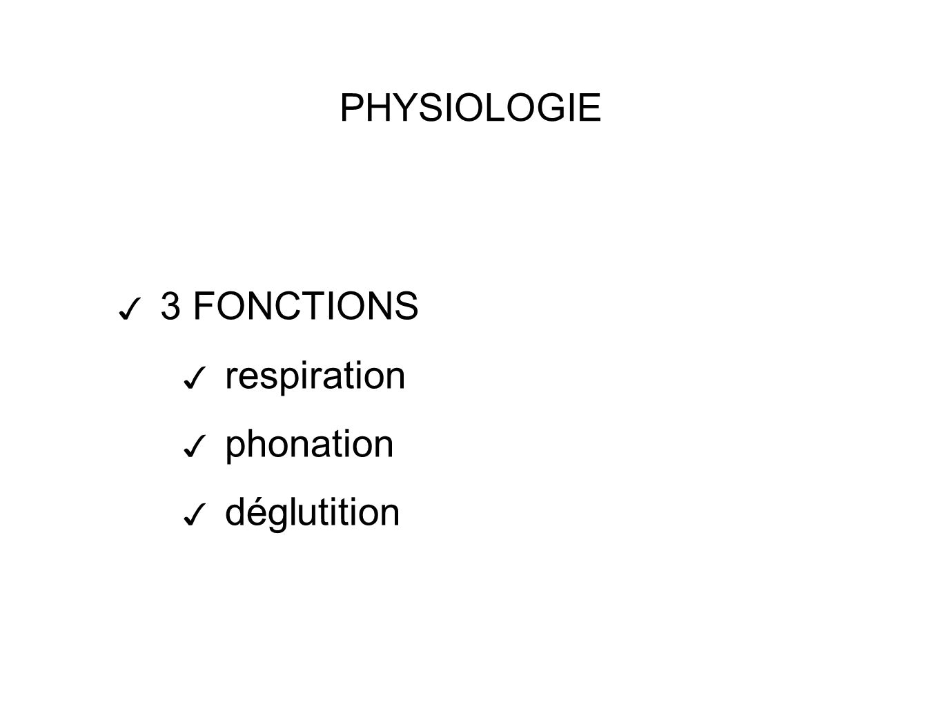 PHYSIOLOGIE 3 FONCTIONS respiration phonation déglutition
