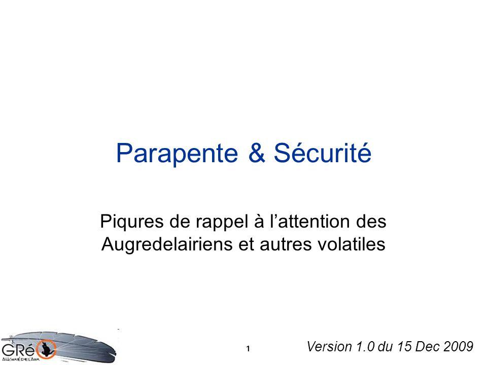 1 Parapente & Sécurité Piqures de rappel à lattention des Augredelairiens et autres volatiles Version 1.0 du 15 Dec 2009