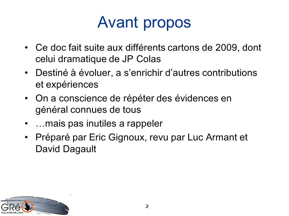 2 Avant propos Ce doc fait suite aux différents cartons de 2009, dont celui dramatique de JP Colas Destiné à évoluer, a senrichir dautres contribution