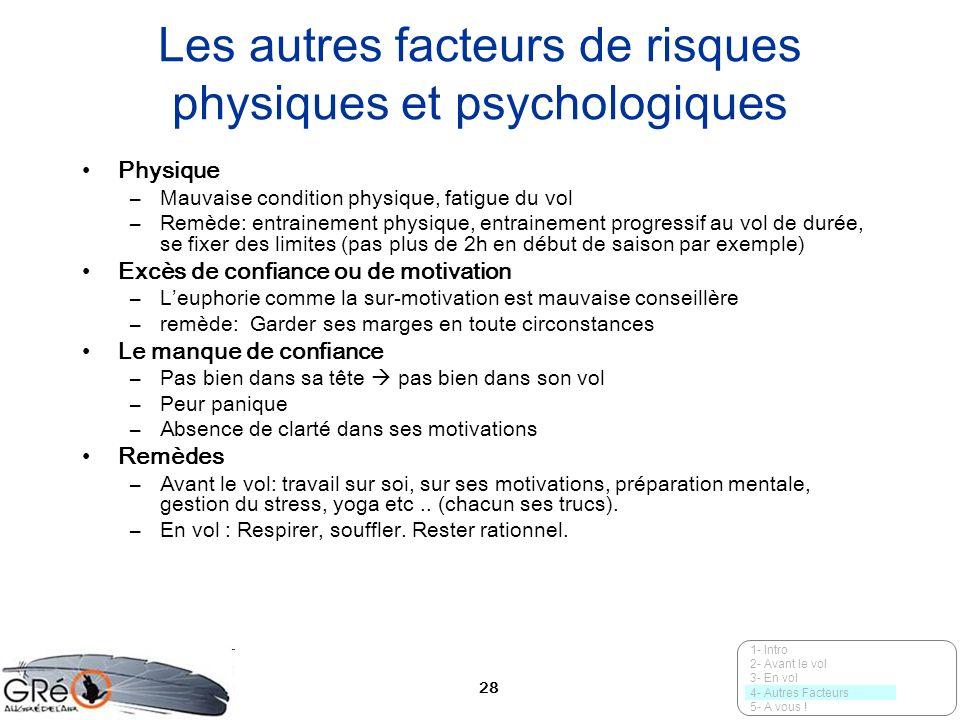 28 Les autres facteurs de risques physiques et psychologiques Physique –Mauvaise condition physique, fatigue du vol –Remède: entrainement physique, en