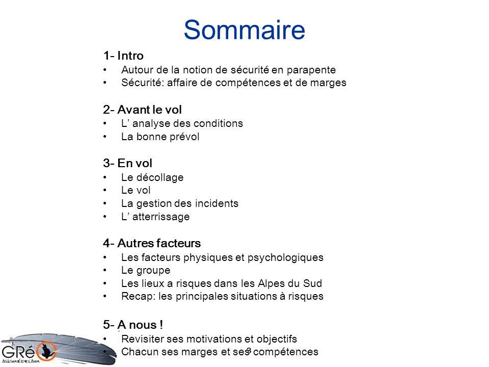 3 Sommaire 1- Intro Autour de la notion de sécurité en parapente Sécurité: affaire de compétences et de marges 2- Avant le vol L analyse des condition