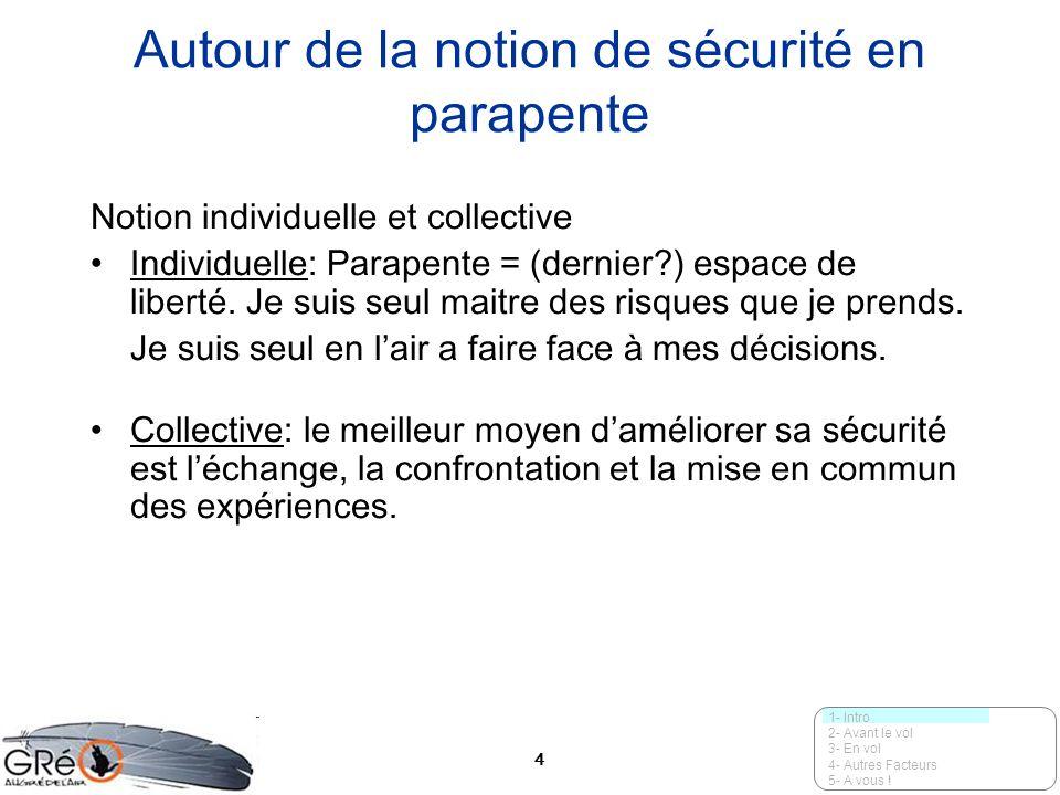 4 Autour de la notion de sécurité en parapente Notion individuelle et collective Individuelle: Parapente = (dernier?) espace de liberté. Je suis seul