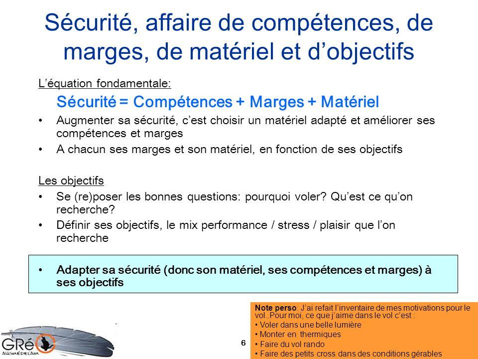 6 Sécurité, affaire de compétences, de marges, de matériel et dobjectifs Léquation fondamentale: Sécurité = Compétences + Marges + Matériel Augmenter