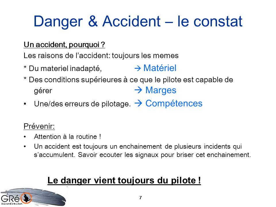 7 Danger & Accident – le constat Un accident, pourquoi ? Les raisons de laccident: toujours les memes * Du materiel inadapté, Matériel * Des condition
