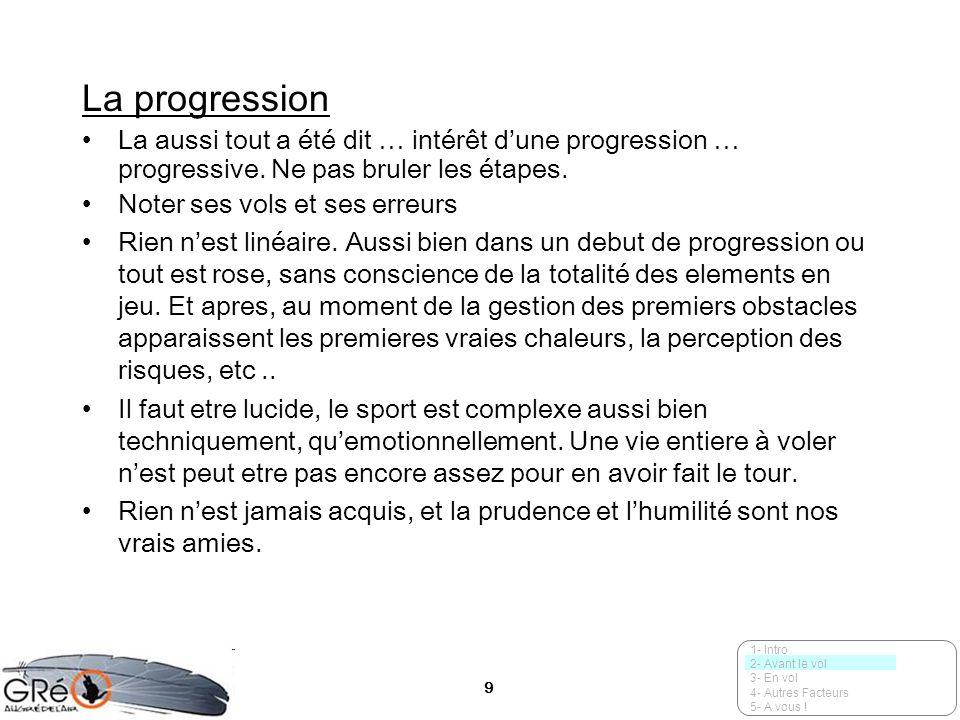 9 La progression La aussi tout a été dit … intérêt dune progression … progressive. Ne pas bruler les étapes. Noter ses vols et ses erreurs Rien nest l