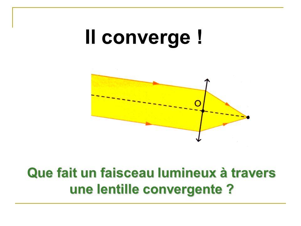 Que fait un faisceau lumineux à travers une lentille convergente ? Il converge !