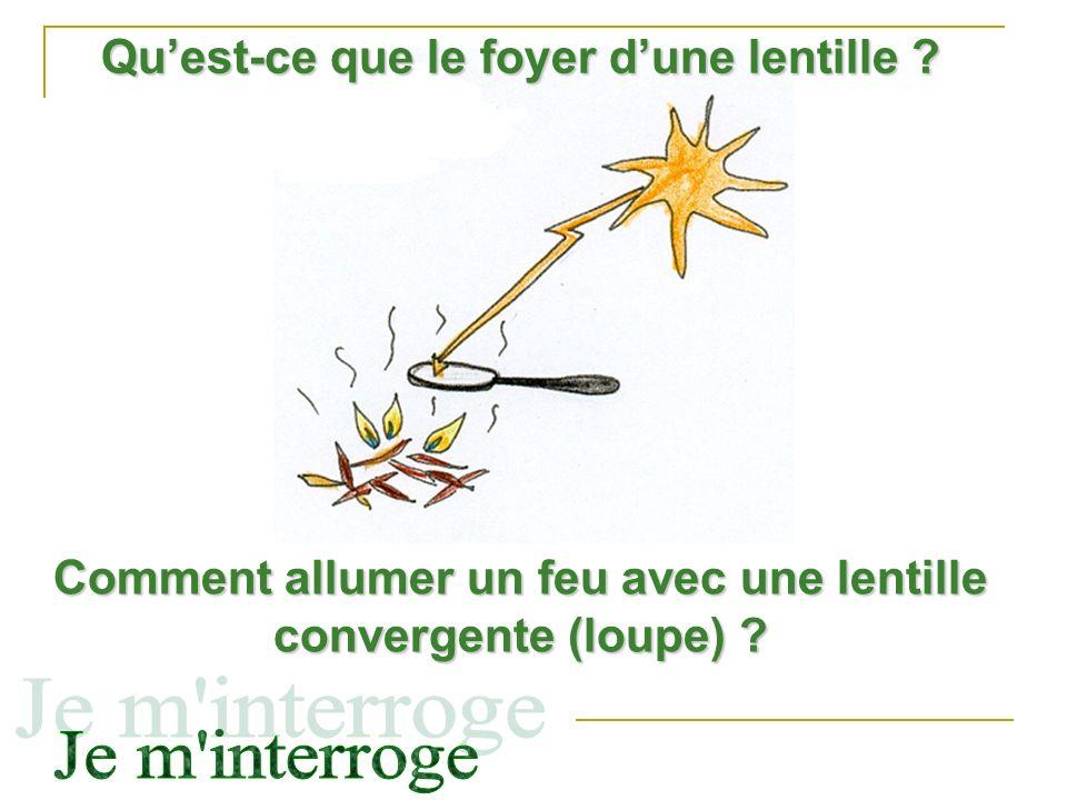 Comment allumer un feu avec une lentille convergente (loupe) ? Quest-ce que le foyer dune lentille ?