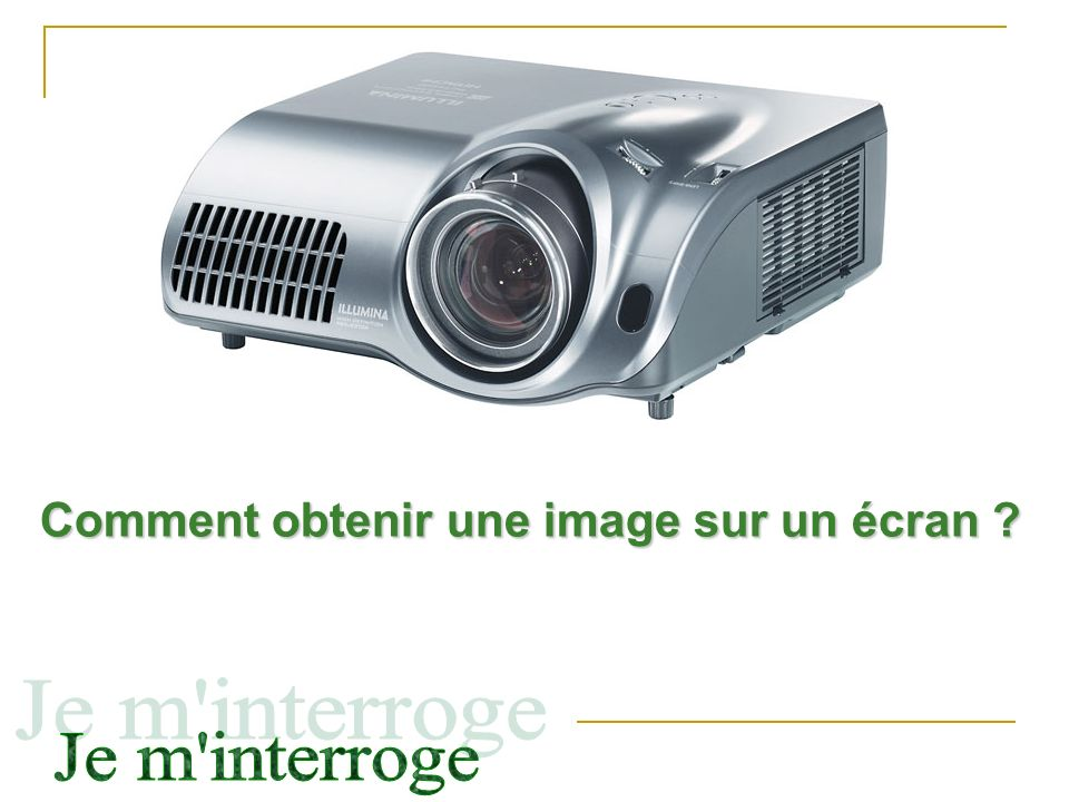 Comment obtenir une image sur un écran ?
