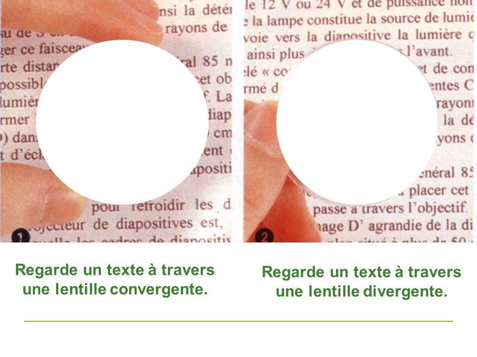 Regarde un texte à travers une lentille convergente. Regarde un texte à travers une lentille divergente.