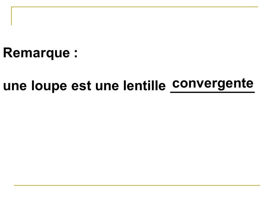 Remarque : une loupe est une lentille ___________ convergente
