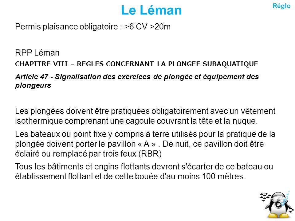 Le Léman Permis plaisance obligatoire : >6 CV >20m RPP Léman CHAPITRE VIII – REGLES CONCERNANT LA PLONGEE SUBAQUATIQUE Article 47 - Signalisation des