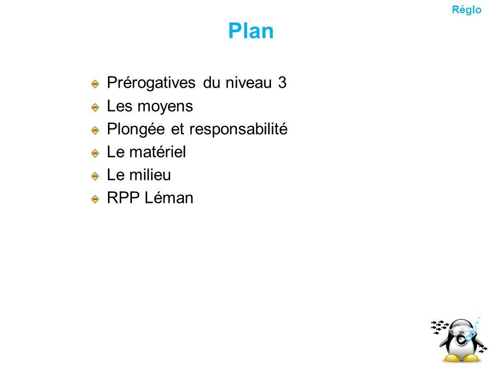 Plan Prérogatives du niveau 3 Les moyens Plongée et responsabilité Le matériel Le milieu RPP Léman Réglo