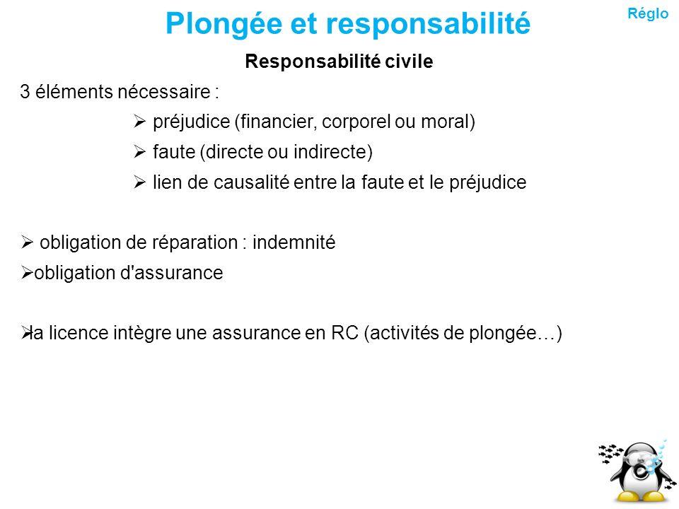 Plongée et responsabilité Responsabilité civile 3 éléments nécessaire : préjudice (financier, corporel ou moral) faute (directe ou indirecte) lien de