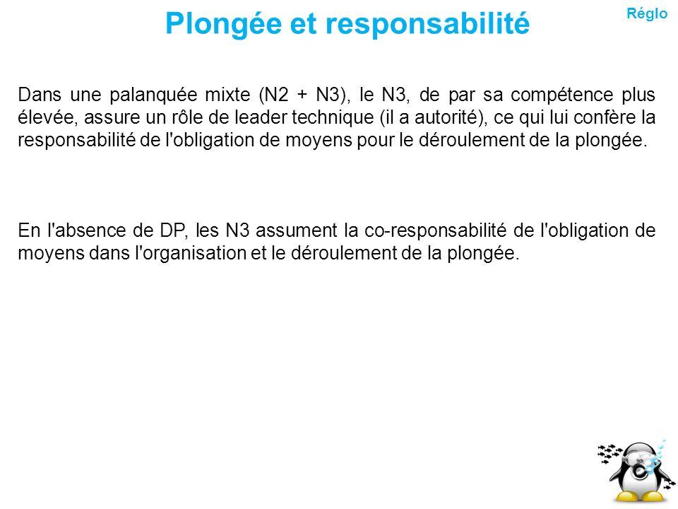 Plongée et responsabilité Dans une palanquée mixte (N2 + N3), le N3, de par sa compétence plus élevée, assure un rôle de leader technique (il a autori