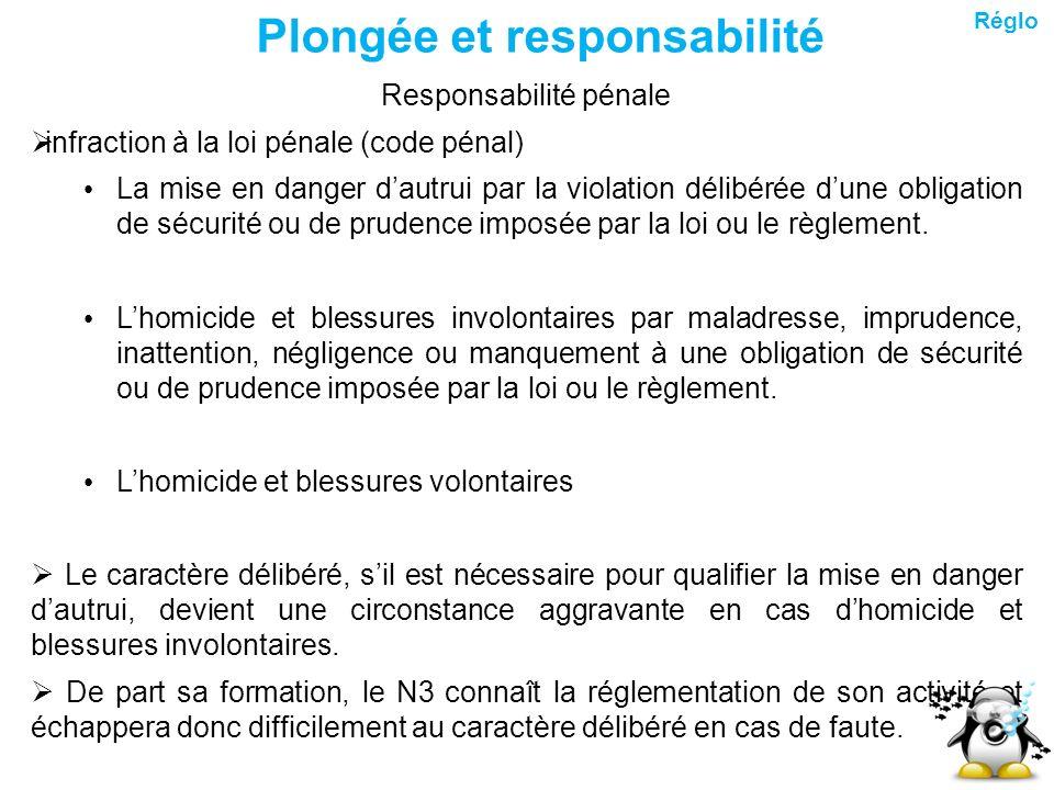 Plongée et responsabilité Responsabilité pénale infraction à la loi pénale (code pénal) La mise en danger dautrui par la violation délibérée dune obli