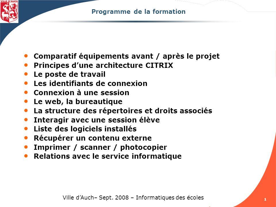 2 Ville dAuch– Sept. 2008 – Informatiques des écoles Comparatif avant / après