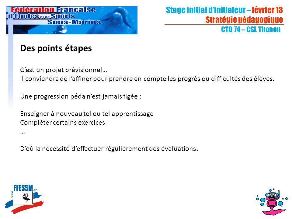 Stage initial dinitiateur – février 13 Stratégie pédagogique CTD 74 – CSL Thonon Des points étapes Cest un projet prévisionnel… Il conviendra de laffi