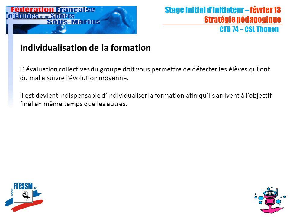 Stage initial dinitiateur – février 13 Stratégie pédagogique CTD 74 – CSL Thonon Individualisation de la formation L évaluation collectives du groupe