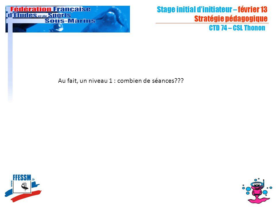 Stage initial dinitiateur – février 13 Stratégie pédagogique CTD 74 – CSL Thonon Au fait, un niveau 1 : combien de séances???