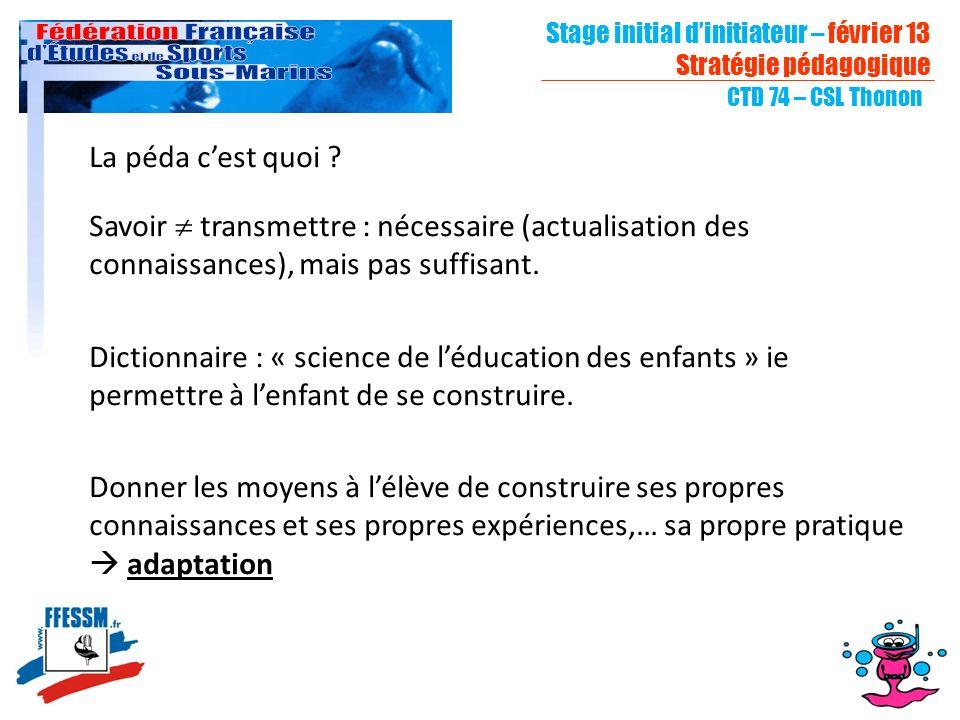 Stage initial dinitiateur – février 13 Stratégie pédagogique CTD 74 – CSL Thonon La péda cest quoi .