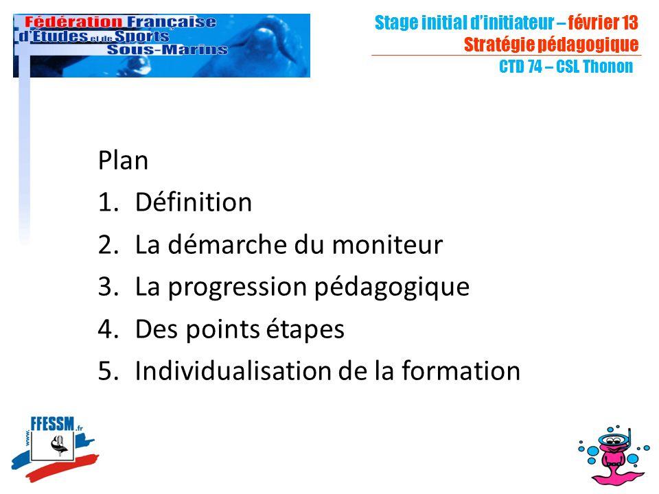 Stage initial dinitiateur – février 13 Stratégie pédagogique CTD 74 – CSL Thonon Plan 1.Définition 2.La démarche du moniteur 3.La progression pédagogique 4.Des points étapes 5.Individualisation de la formation