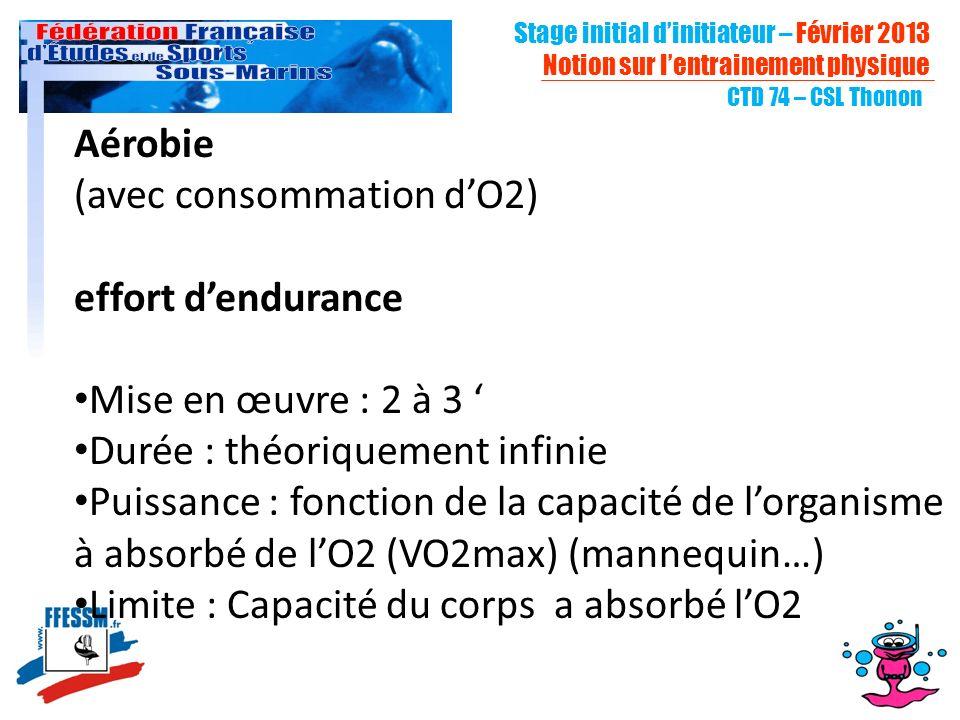 CTD 74 – CSL Thonon Aérobie (avec consommation dO2) effort dendurance Mise en œuvre : 2 à 3 Durée : théoriquement infinie Puissance : fonction de la capacité de lorganisme à absorbé de lO2 (VO2max) (mannequin…) Limite : Capacité du corps a absorbé lO2 Stage initial dinitiateur – Février 2013 Notion sur lentrainement physique