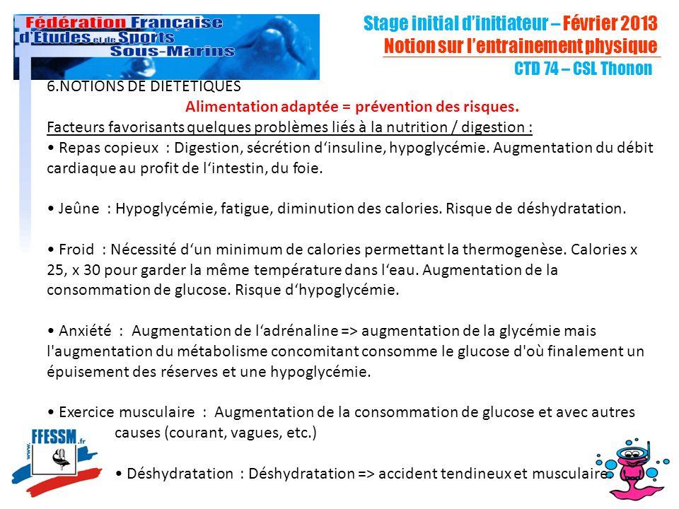 CTD 74 – CSL Thonon 6.NOTIONS DE DIETETIQUES Alimentation adaptée = prévention des risques.