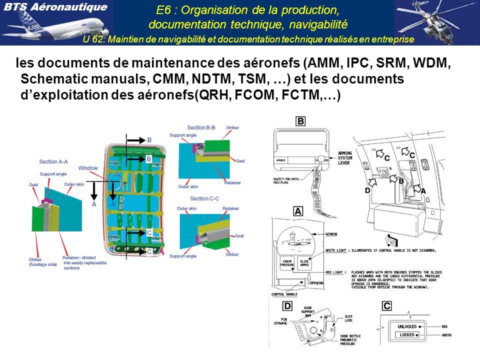 BTS Aéronautique E6 : Organisation de la production, documentation technique, navigabilité U 62: Maintien de navigabilité et documentation technique r