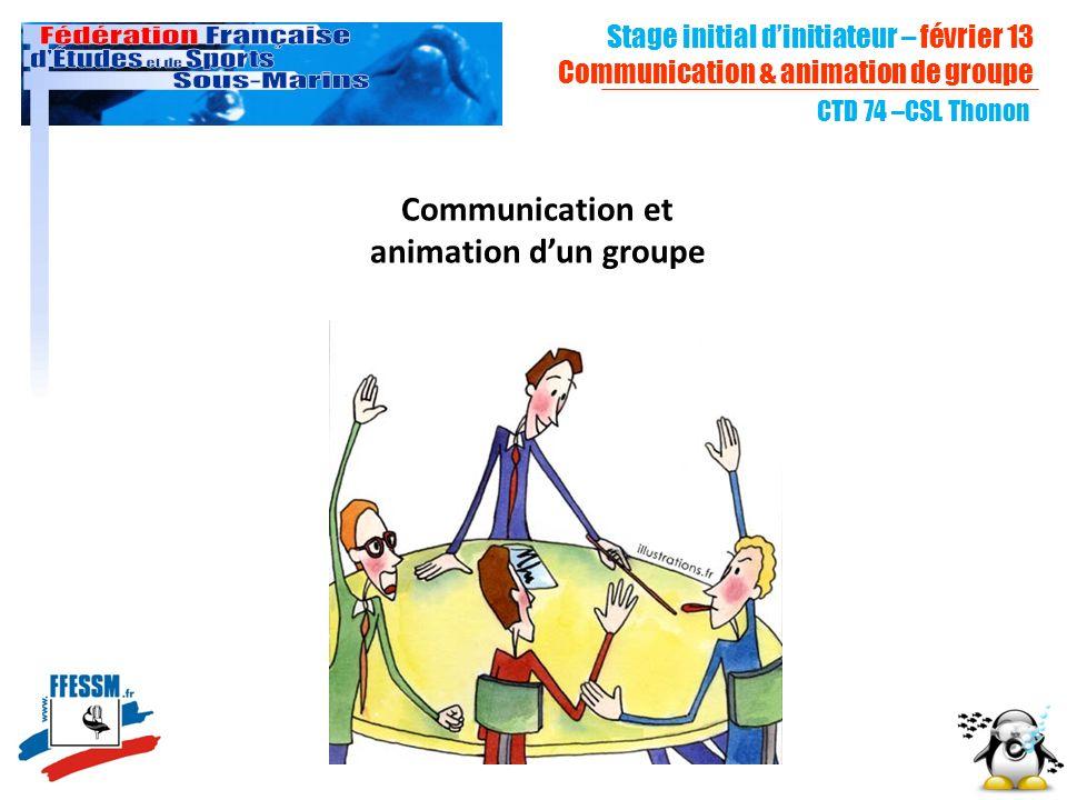 CTD 74 –CSL Thonon Communication et animation dun groupe Stage initial dinitiateur – février 13 Communication & animation de groupe