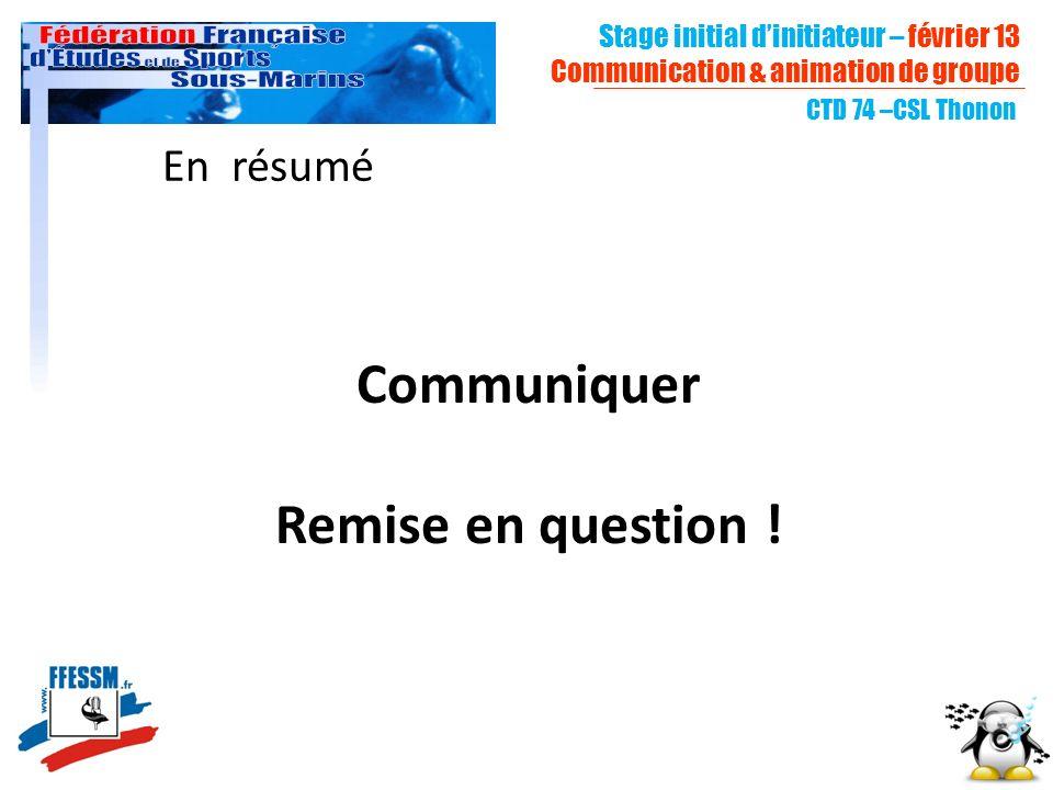 En résumé Communiquer Remise en question ! CTD 74 –CSL Thonon Stage initial dinitiateur – février 13 Communication & animation de groupe