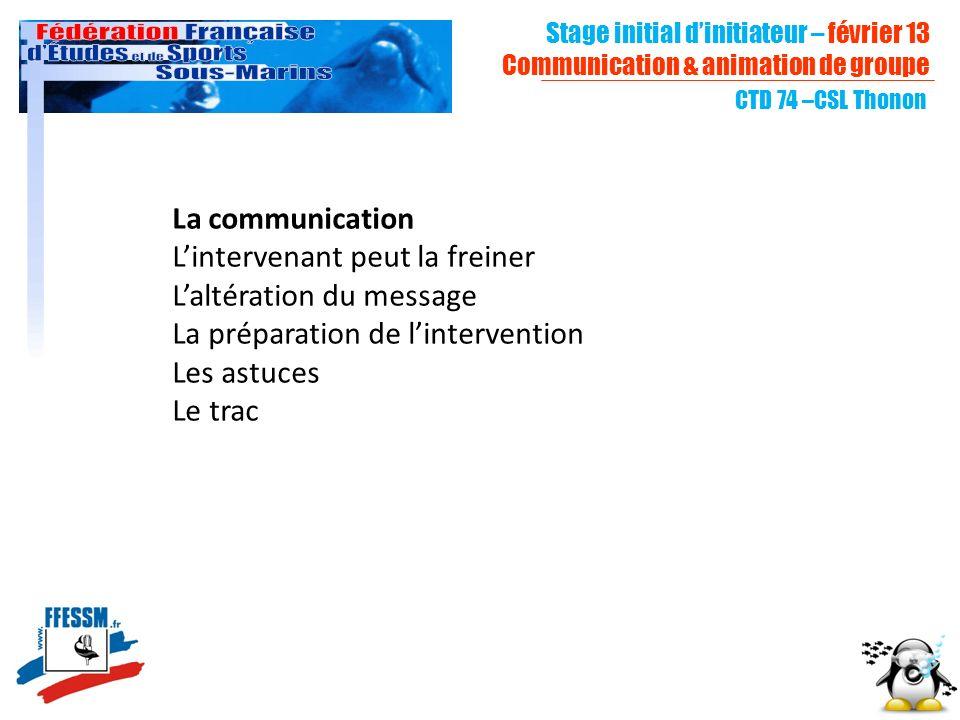 La communication Lintervenant peut la freiner Laltération du message La préparation de lintervention Les astuces Le trac CTD 74 –CSL Thonon Stage init