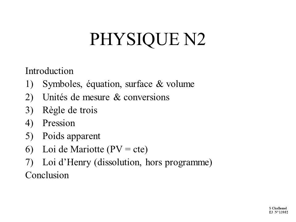 PHYSIQUE N2 Introduction 1)Symboles, équation, surface & volume 2)Unités de mesure & conversions 3)Règle de trois 4)Pression 5)Poids apparent 6)Loi de